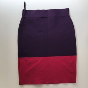 Bcbg bandage skirt purple and pink/red